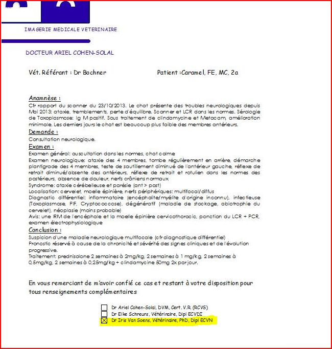 Protocole consultation neurologique de Caramel - 22.11.2013
